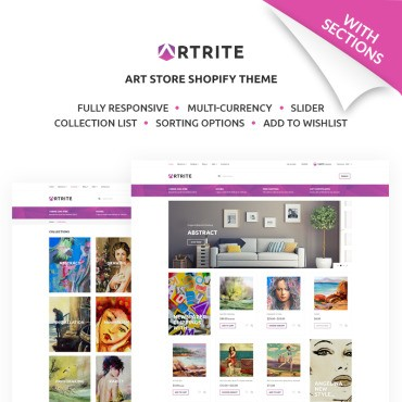 Artrite - Интернет-магазин Marvelous Art & Paintings. Shopify шаблон. Артикул 67864